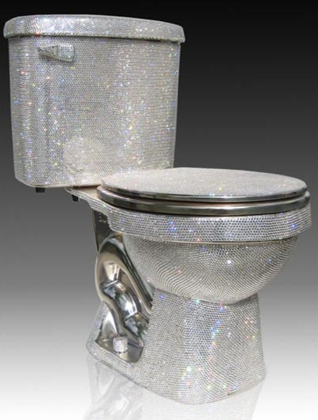 You know your baller when you have a BEDAZZLED TOILET!