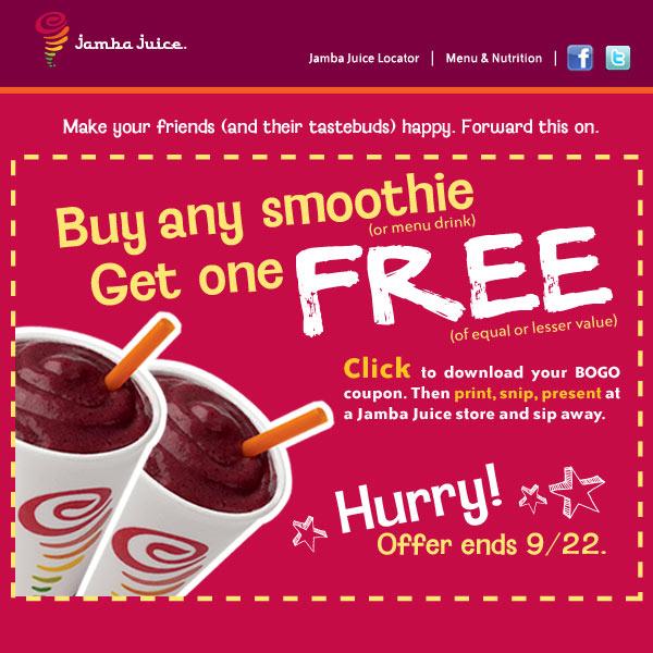 Jamba Juice Buy one get one FREE