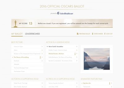 ABC Oscars Challenge Prediction Application 2016 and 2017 Launch