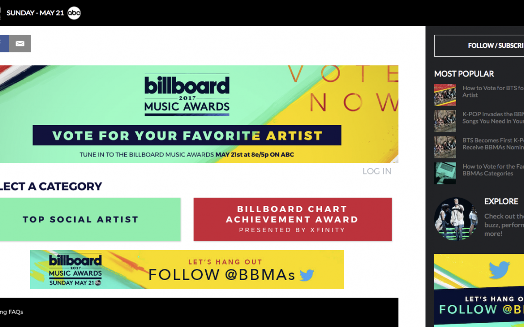 Billboard Music Awards 2017 – Online and Twitter Social Voting Application