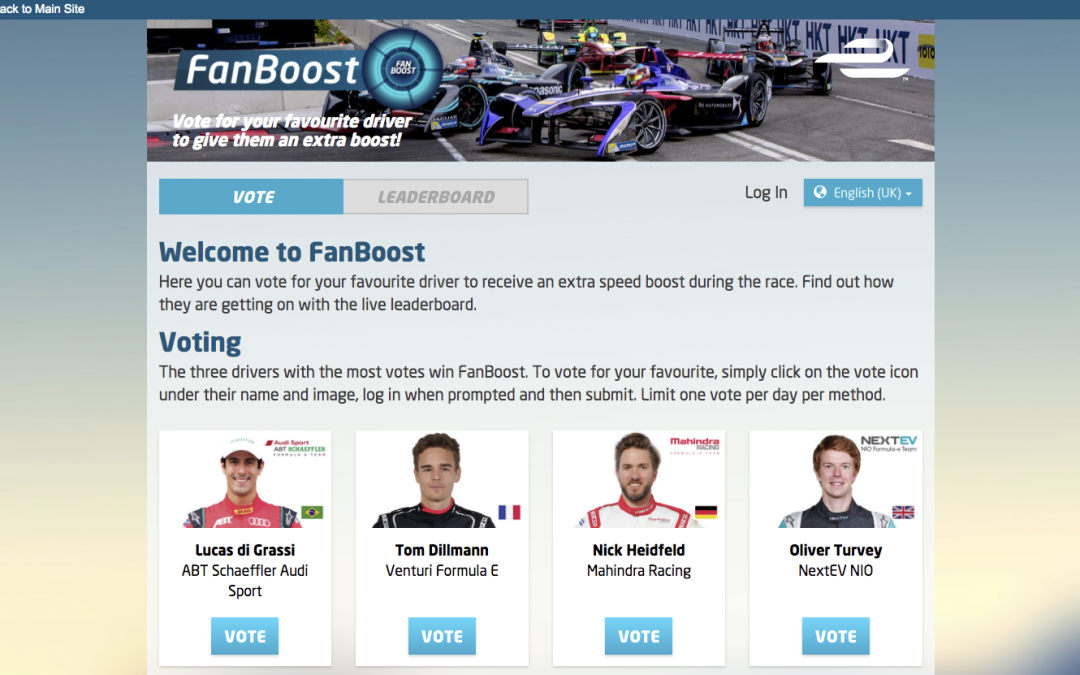 Formula E – Fanboost Online Voting Application, Native App Voting via Driver API's, Twitter and Instagram Voting