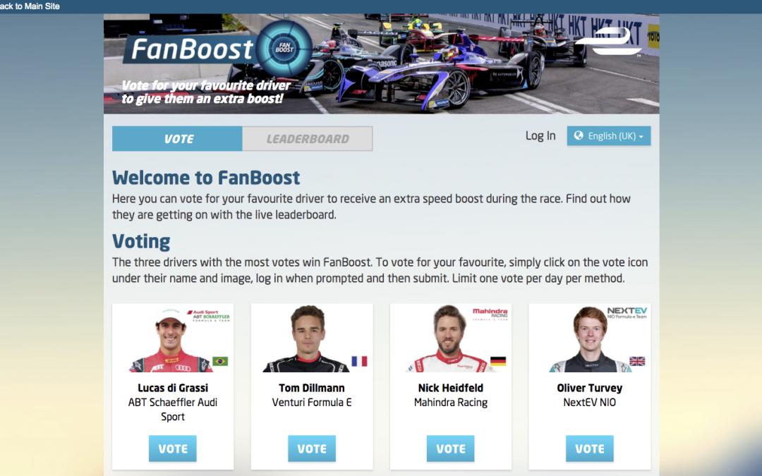 Formula E – Fanboost Online Voting Application, Native App Voting via Driver API's, Twitter and Instagram Voting